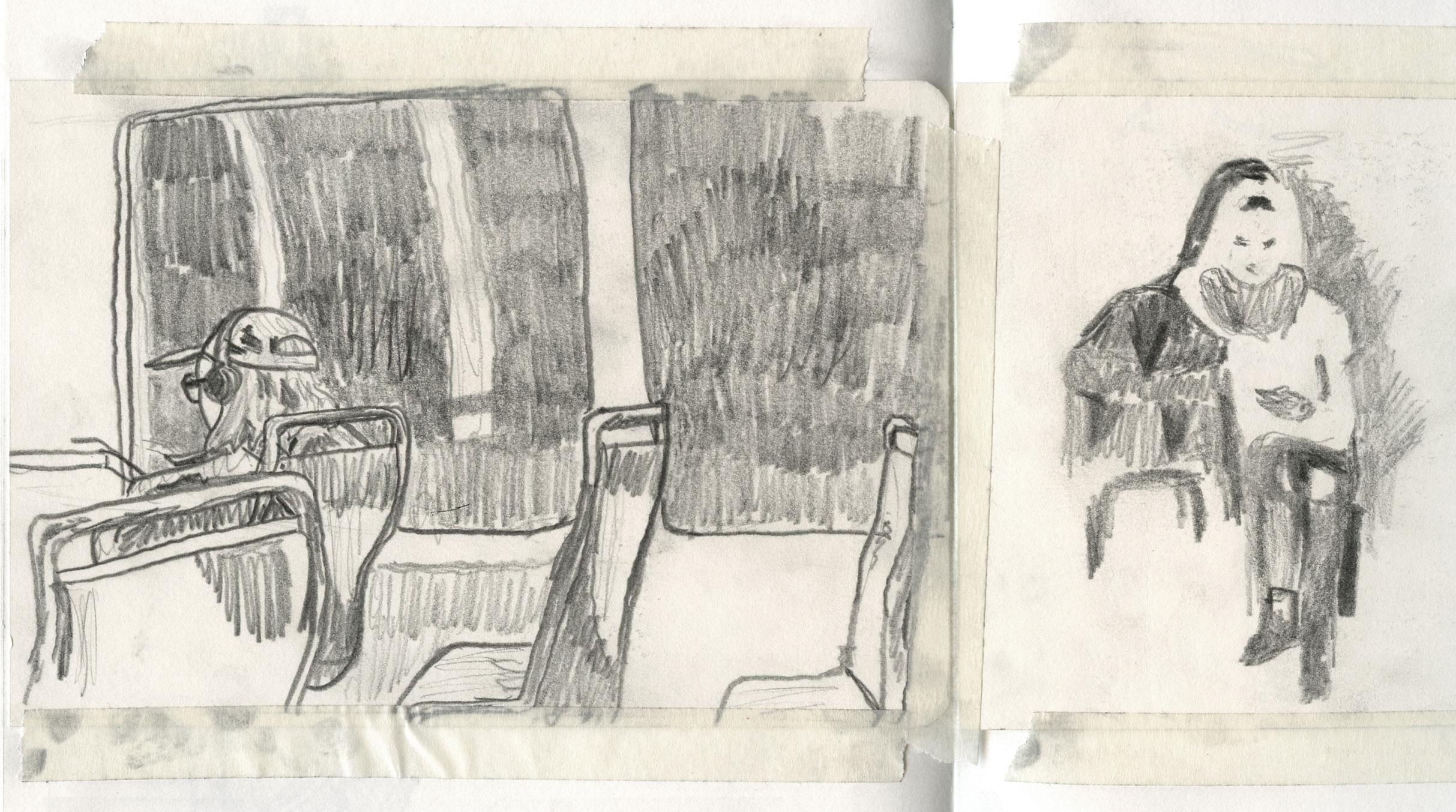 sketch of commuters by ellen vesters illustrator ma childrens book illustration