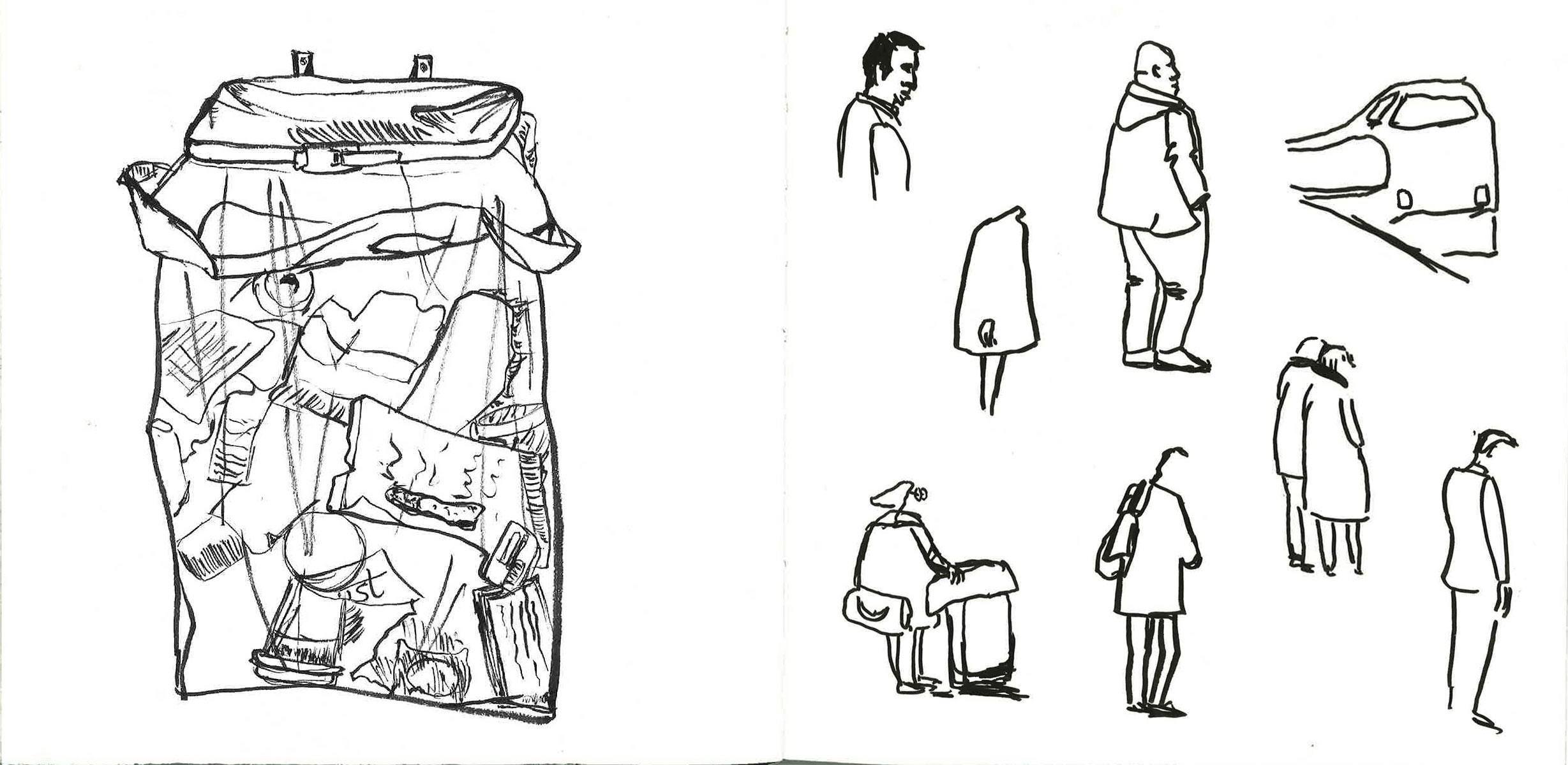 early sketch figures and trash can at deventer station sketch people walking by ellen vesters illustrator ma childrens book illustration