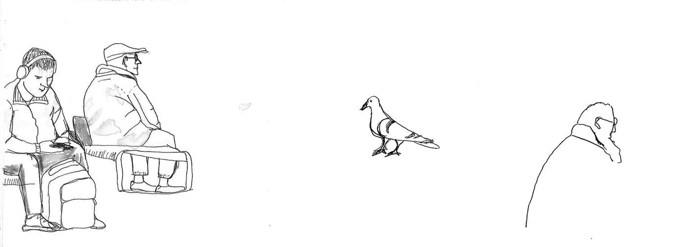 sketch old man young man pigeon at utrecht central station sketch people walking by ellen vesters illustrator ma childrens book illustration