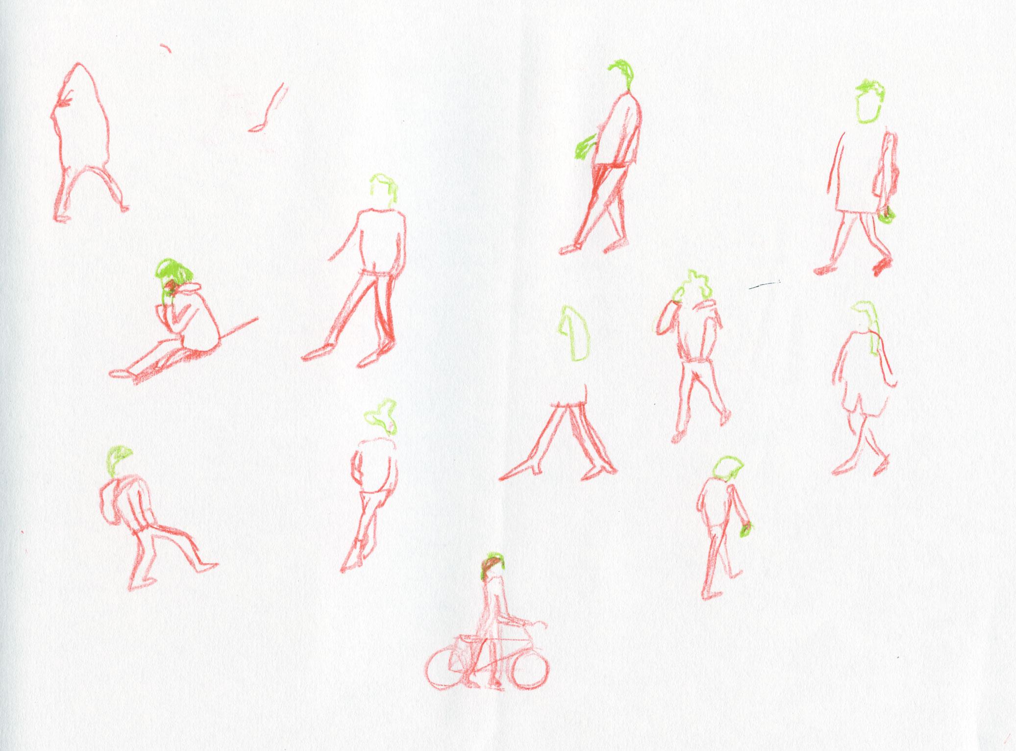 sketch people walking by ellen vesters illustrator ma childrens book illustration