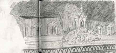 Early sketch view in Lisbon