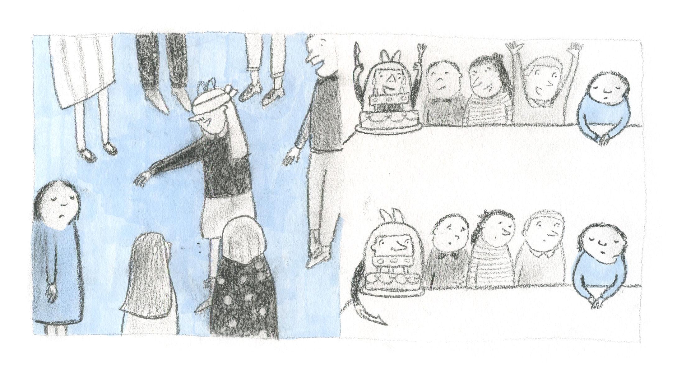 Girl teased by Ellen Vesters children's book illustrator
