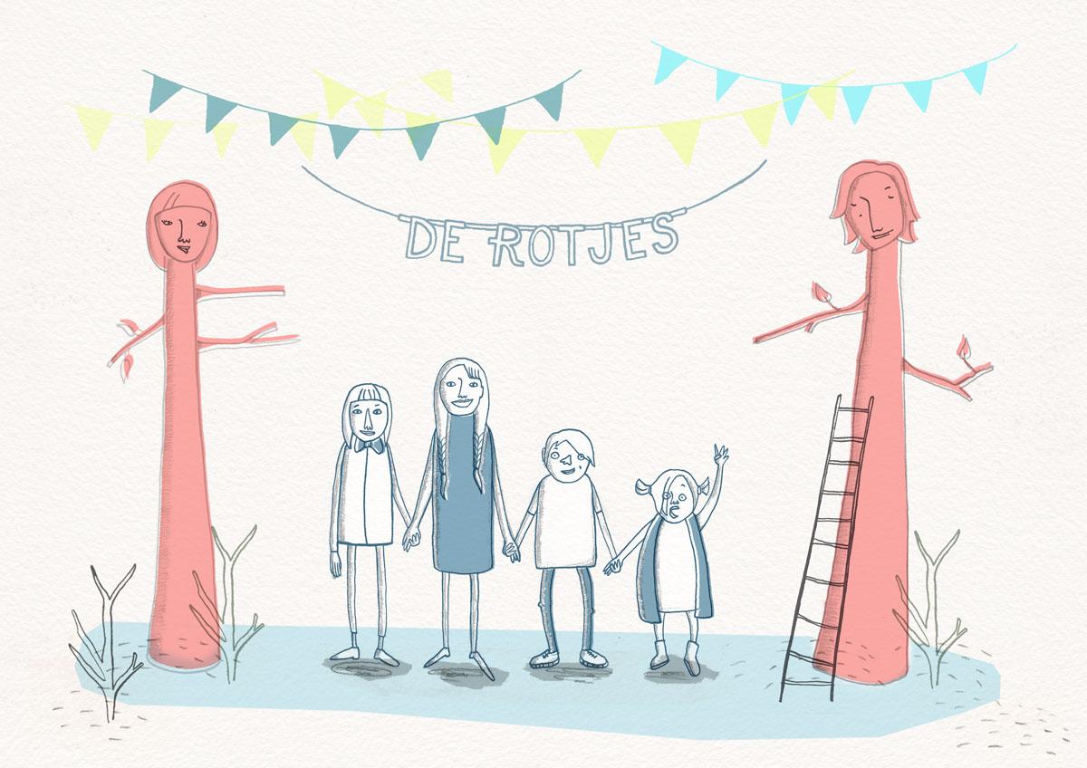 Familieportret Daan Rot door Ellen Vesters Illustrator uit Utrecht