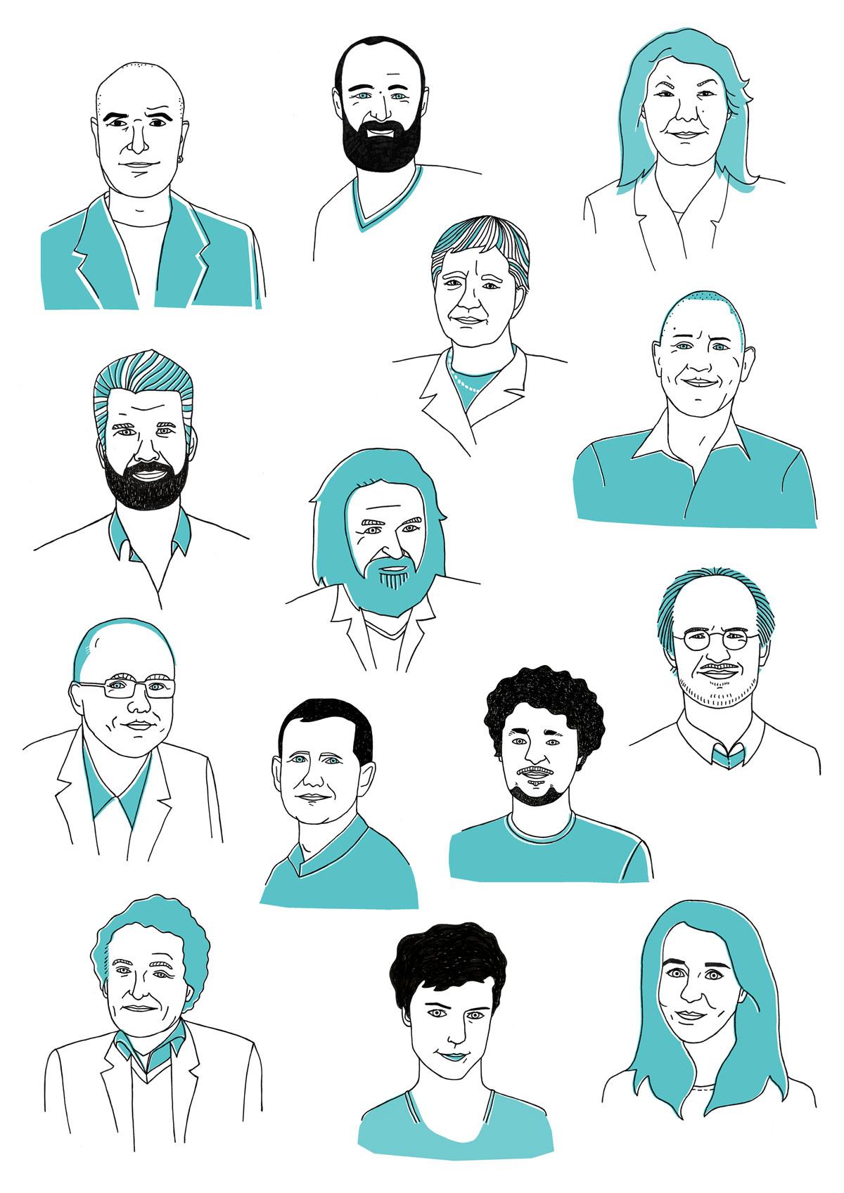 Zinvloed portretten voor EO door Ellen Vesters Illustrator uit Utrecht