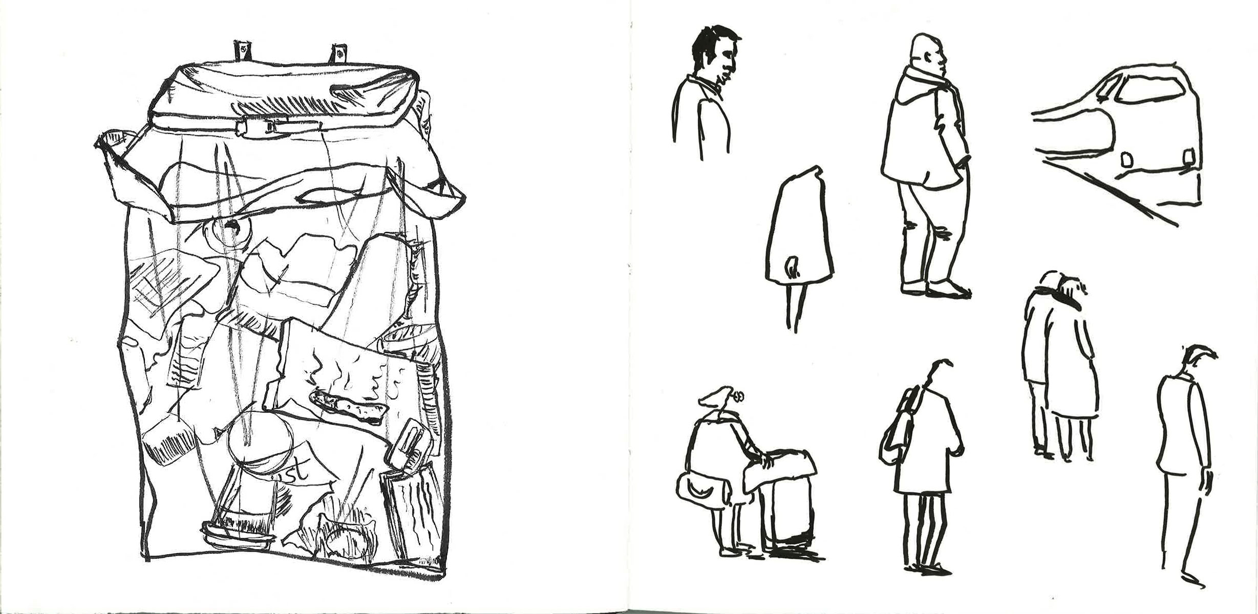 early sketch figures and trash can at deventer station sketch people walking by ellen vesters illustrator ma childrens book illustration