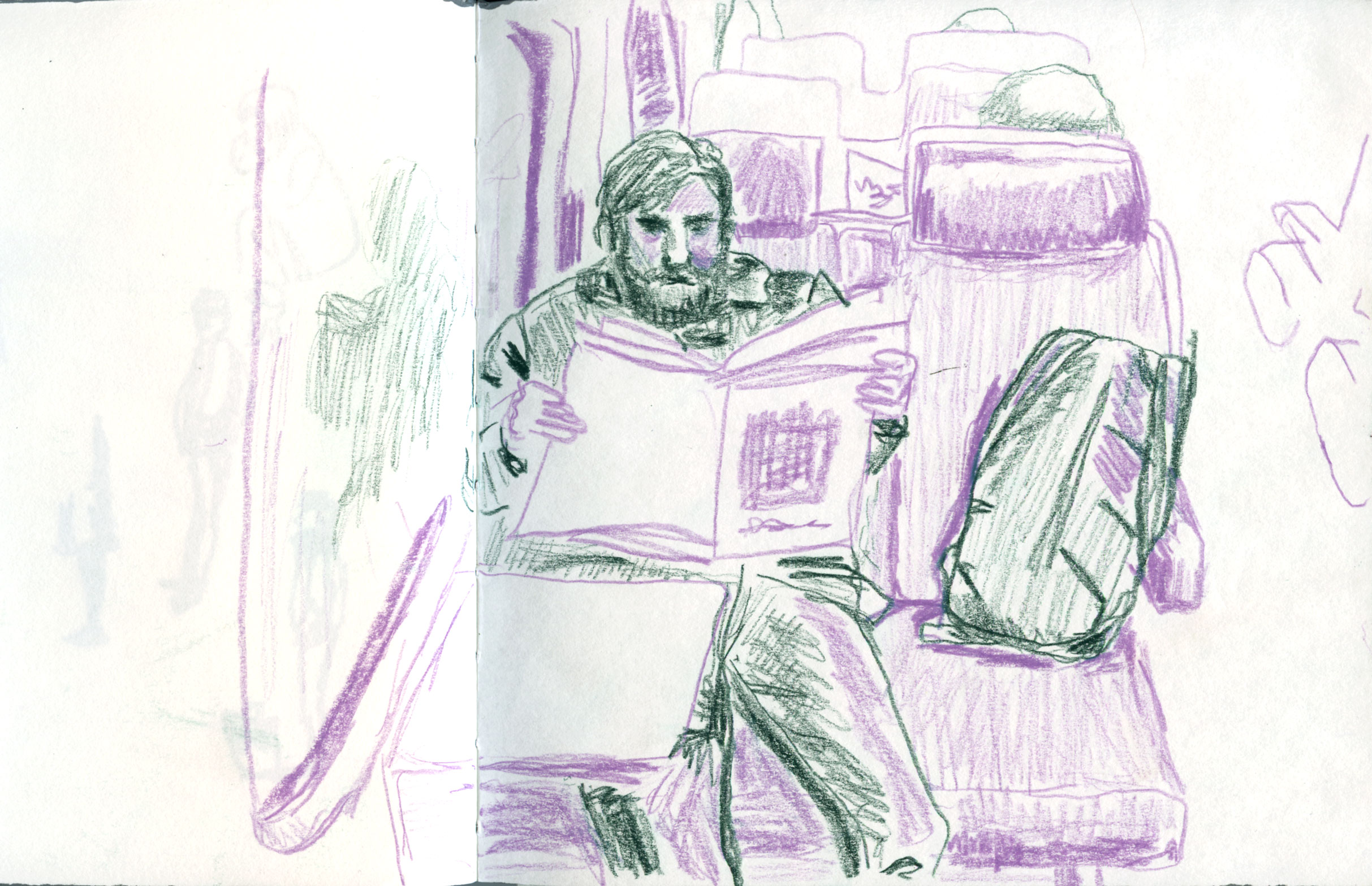 early sketch man reading paper on train