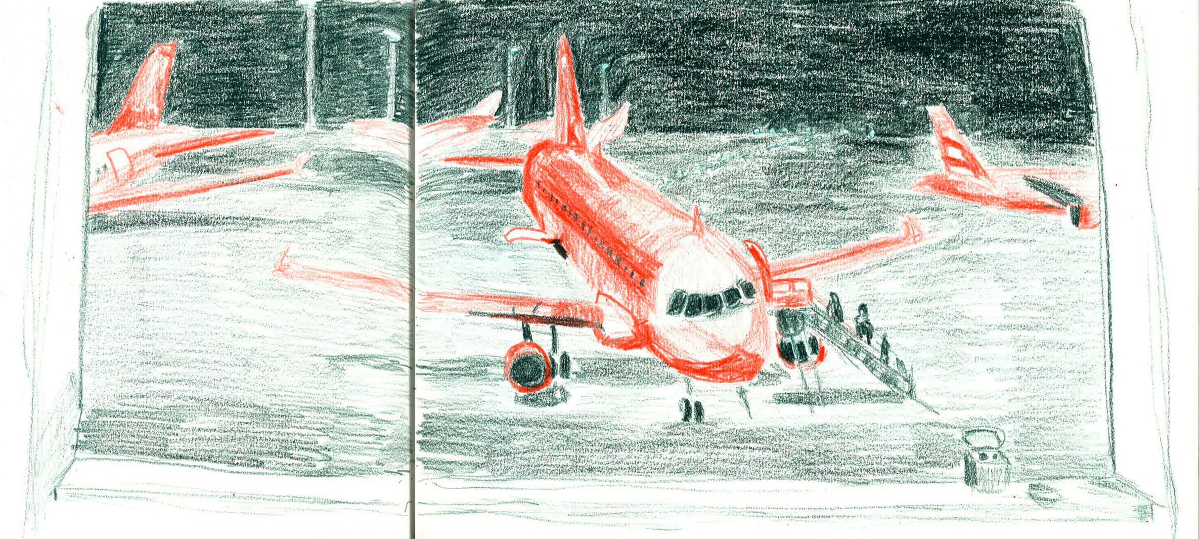 sketch at schiphol airport by ellen vesters ma childrens book illustration