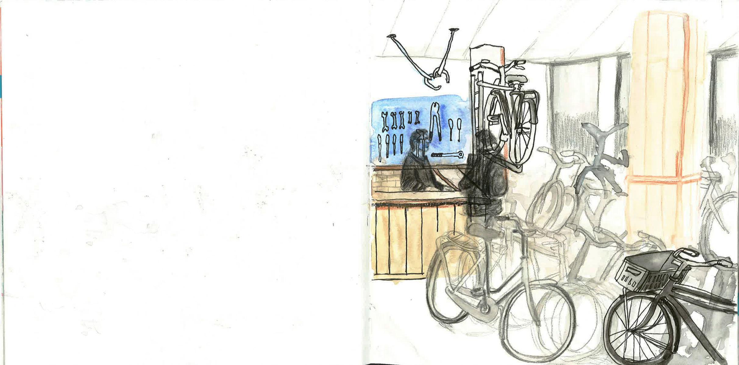 sketch of bike repair shop by ellen vesters illustrator ma childrens book illustration