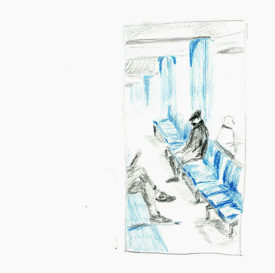 sketch man at stansted waiting by ellen vesters ma childrens book illustration
