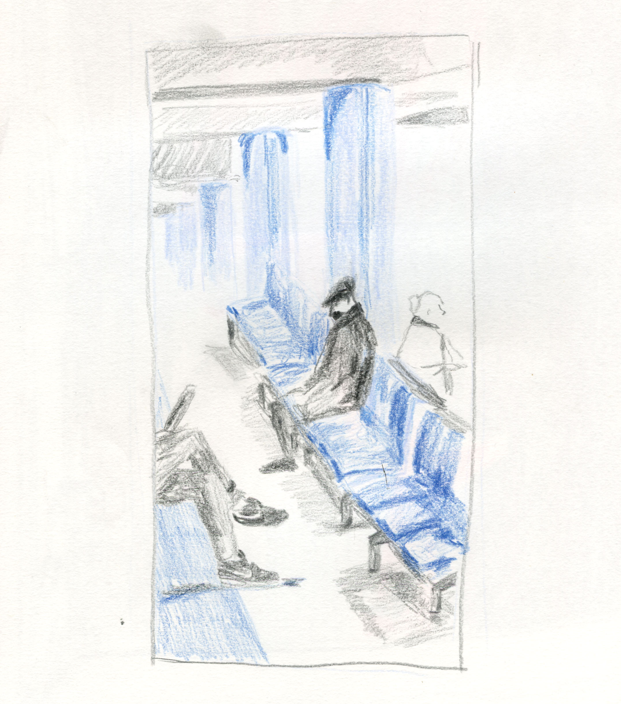 sketch-people-waiting-stansted-airport