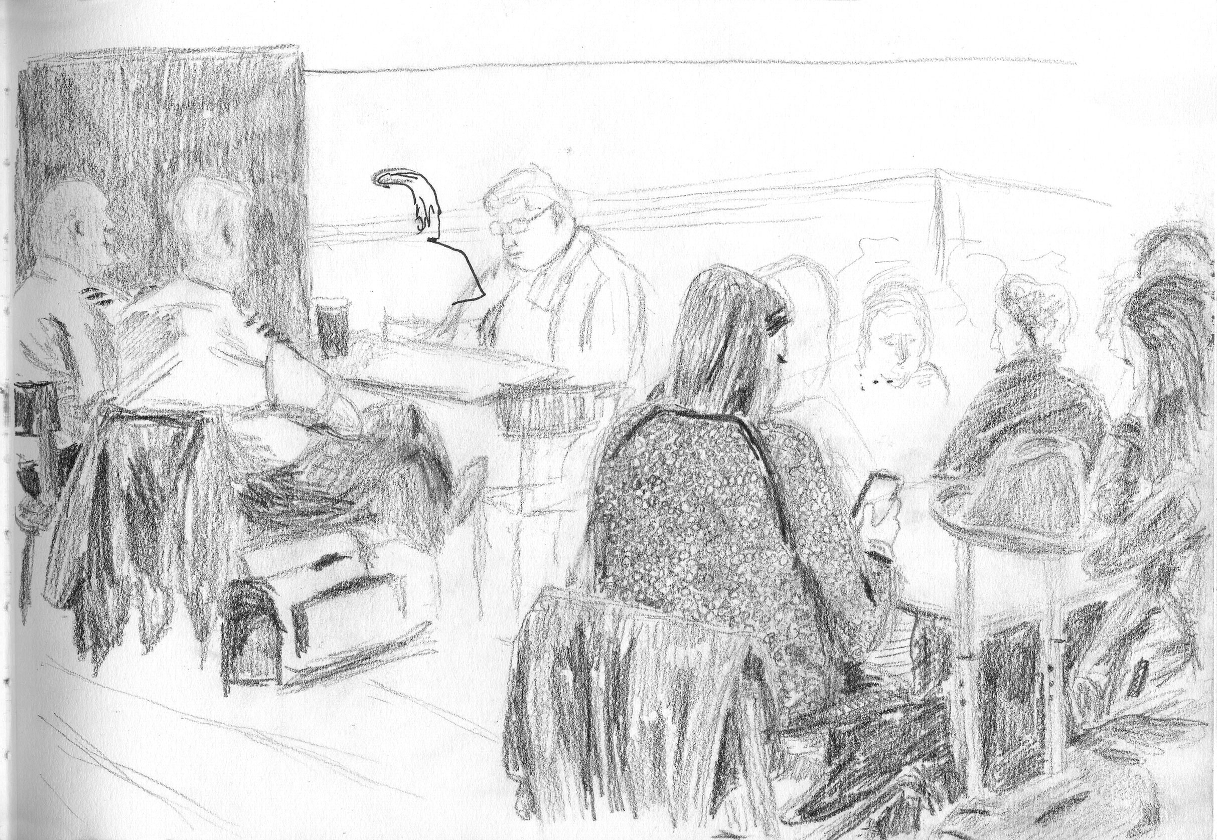 sketch at stansted airport by ellen vesters ma childrens book illustration