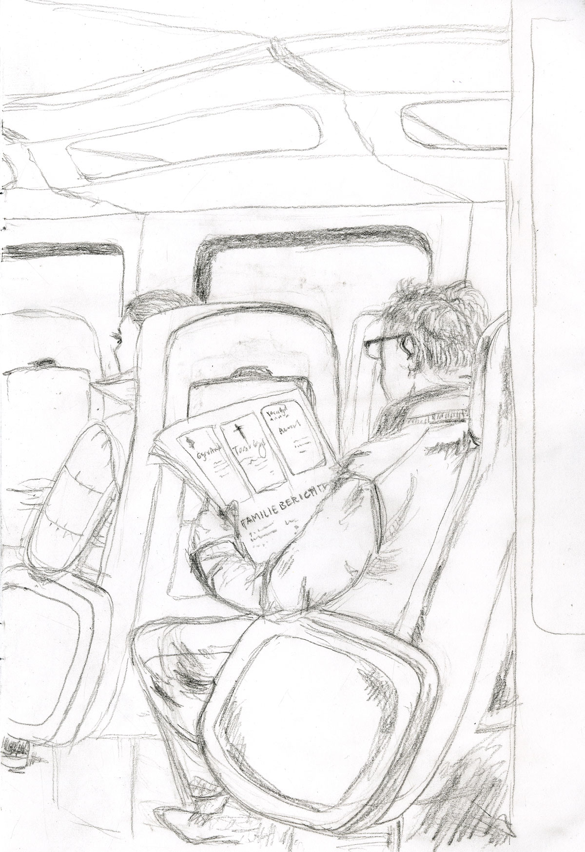 sketch man reading obituaries by illustrator ellen vesters