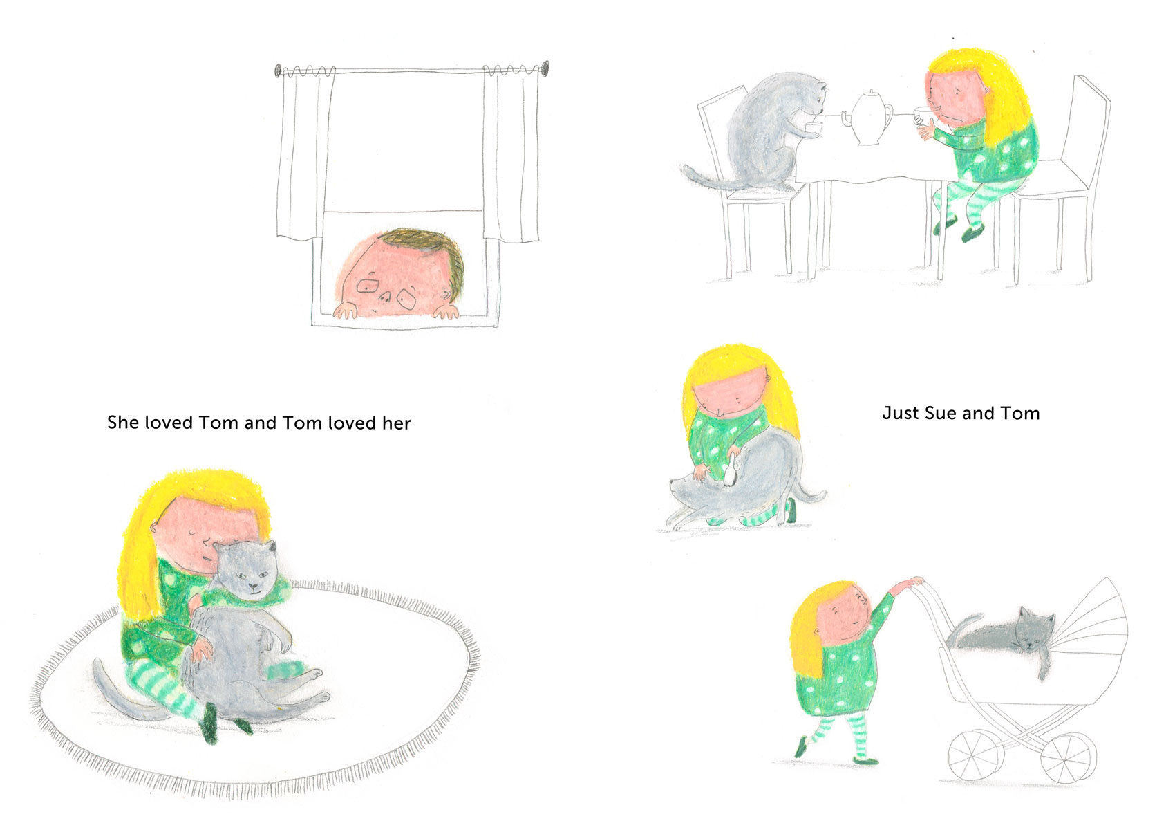 Picture book about girl and cat by Ellen Vesters children's book illustrator
