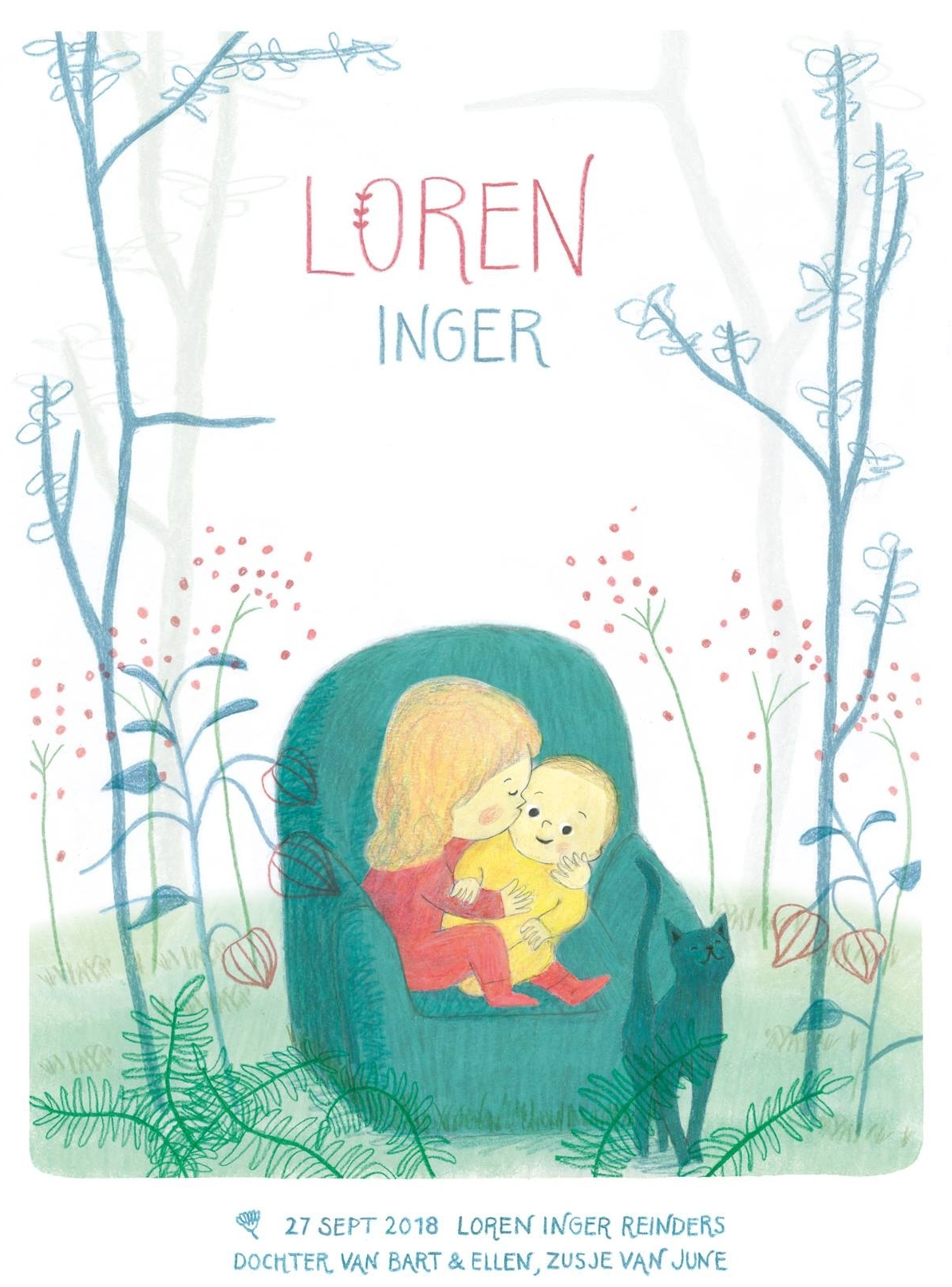 Birth announcement baby Loren by illustrator ellen vesters