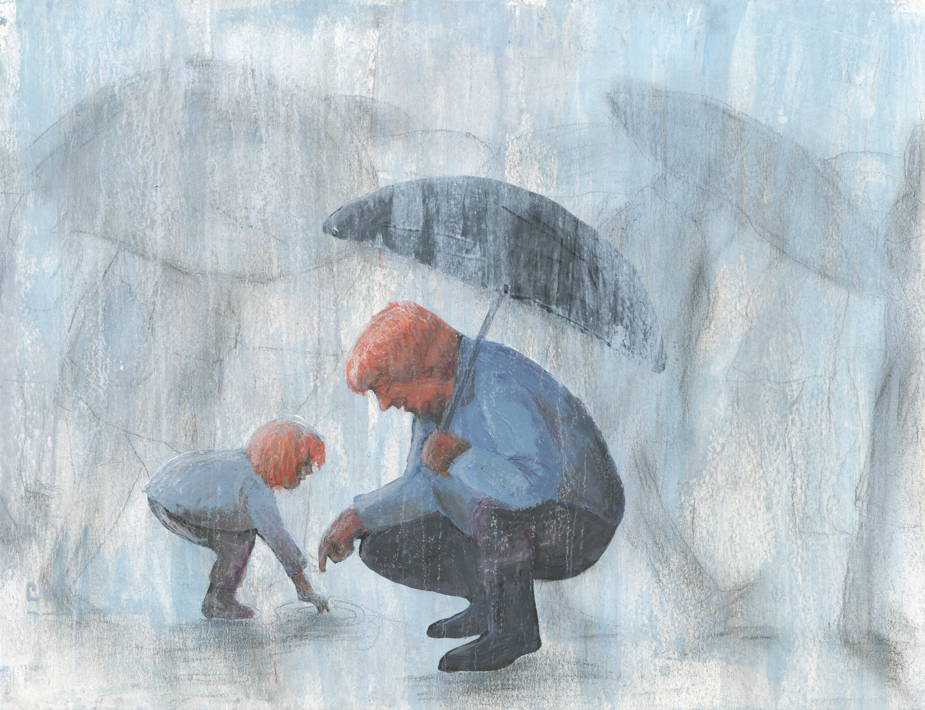 Grandson and grandfather in the rain by Ellen Vesters Illustrator