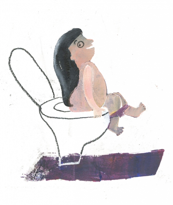 Memory of hairy bottom on toilet by Ellen Vesters Illustrator