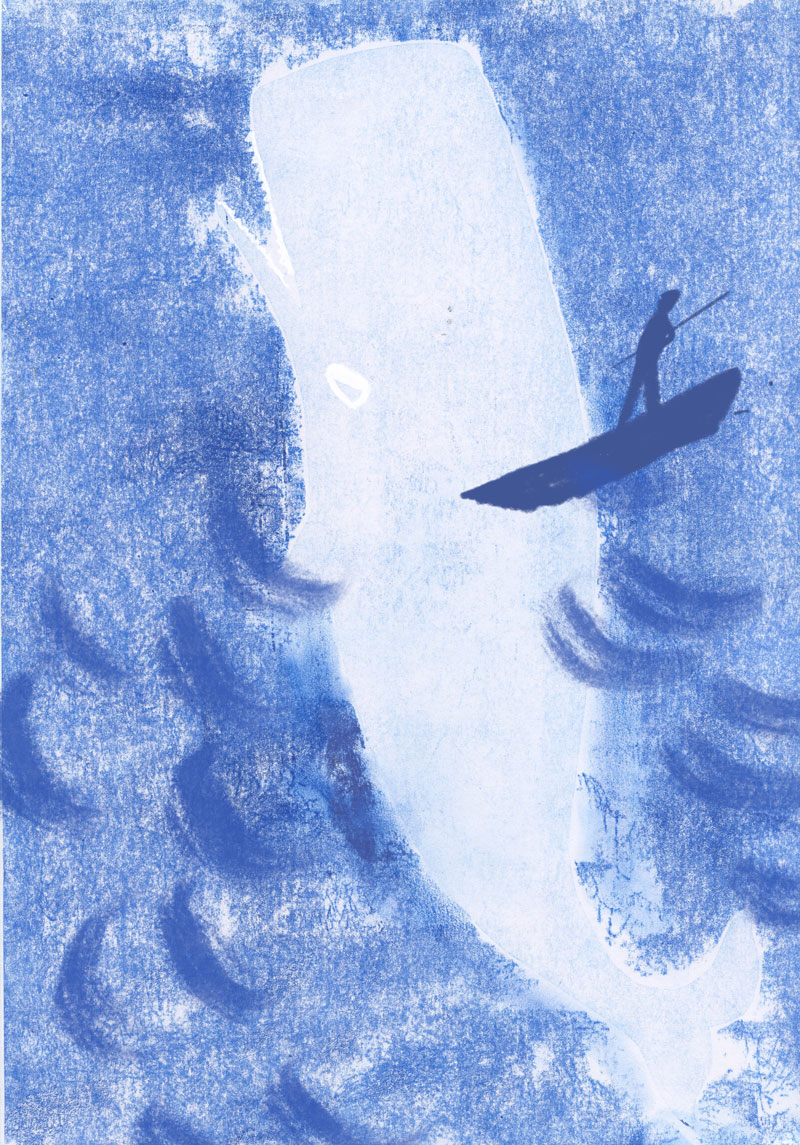 Moby Dick monotype 2 by Ellen Vesters picture book illustrator