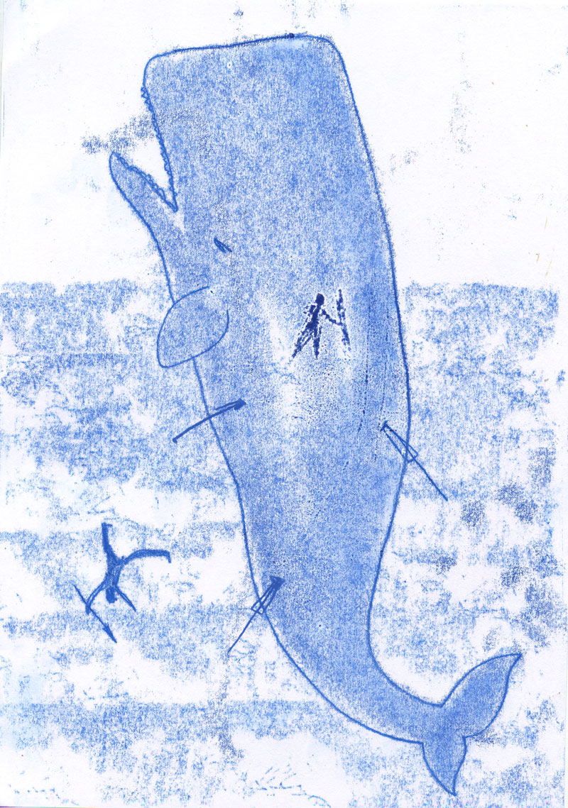Moby Dick monotype 4 by Ellen Vesters picture book illustrator