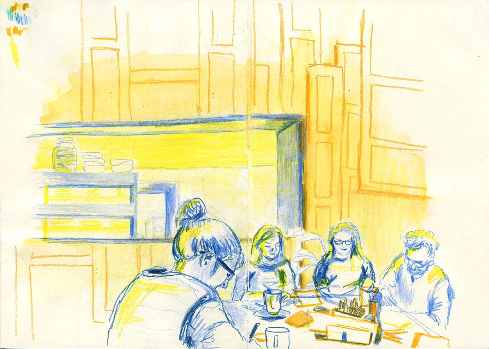 Illustration of group at Bunk Hotel Utrecht by Ellen Vesters picture book illustrator