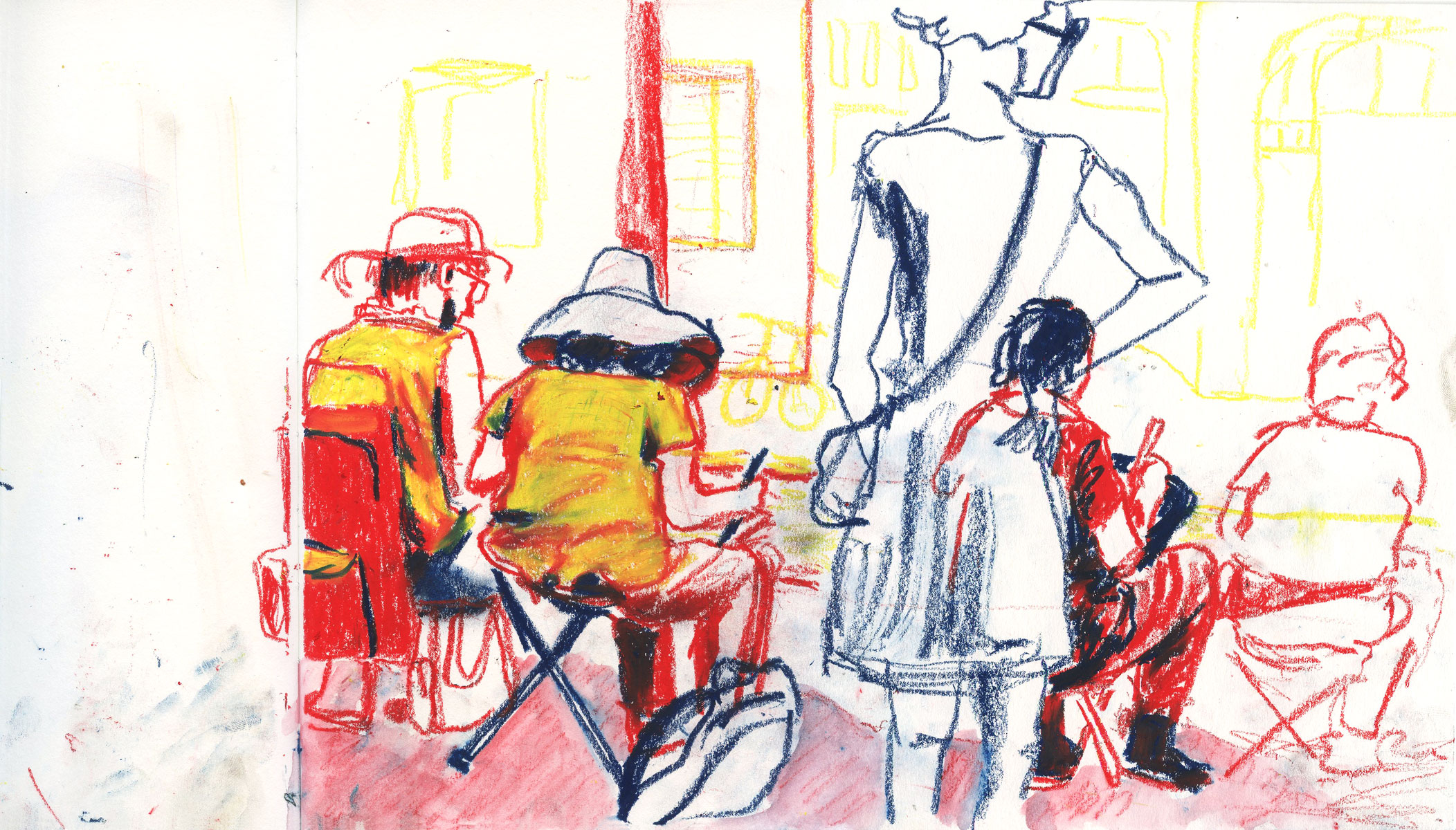 Illustration of Urban Sketchers at Amsterdam by Ellen Vesters picture book illustrator