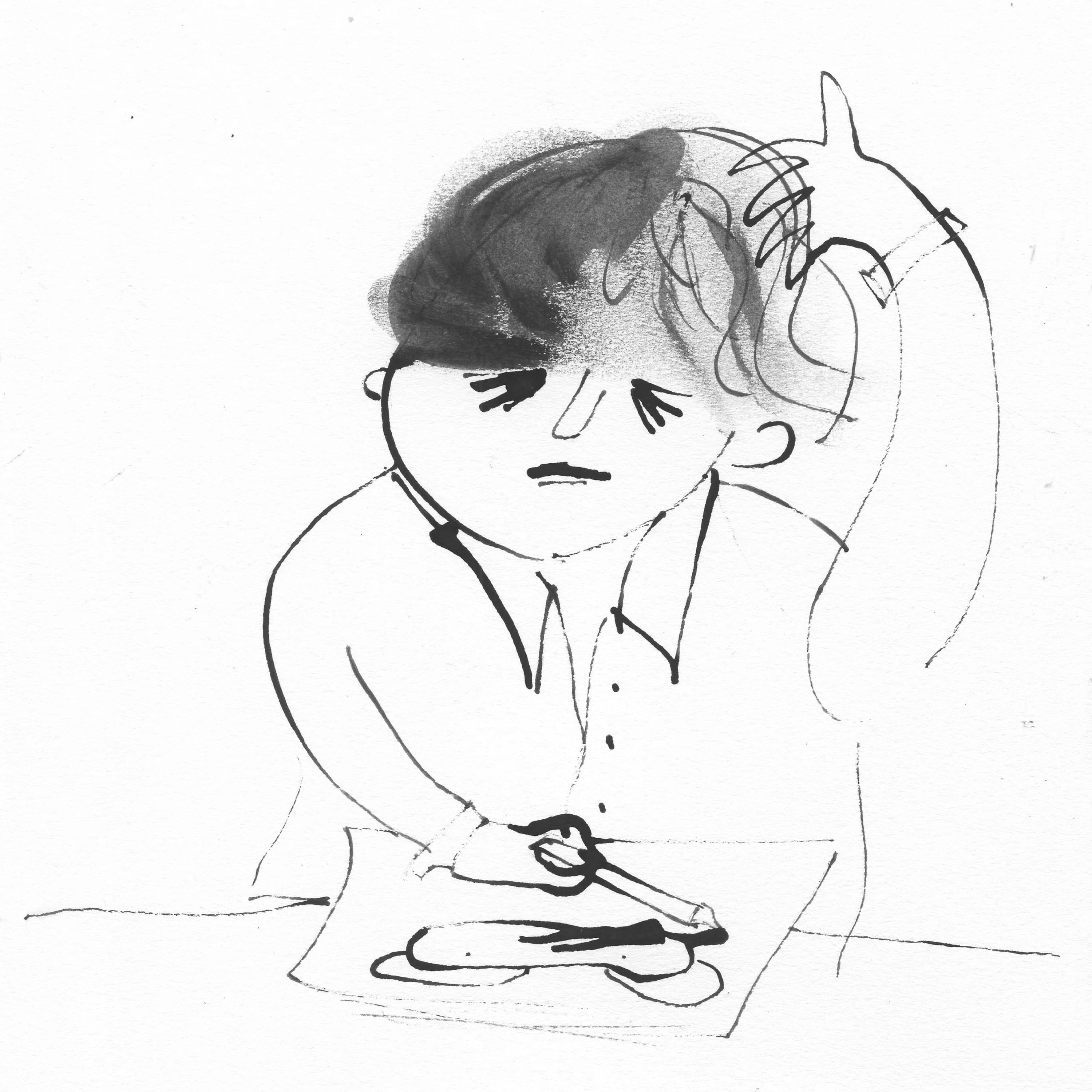Illustration of the frustrated artist by Ellen Vesters picture book illustrator
