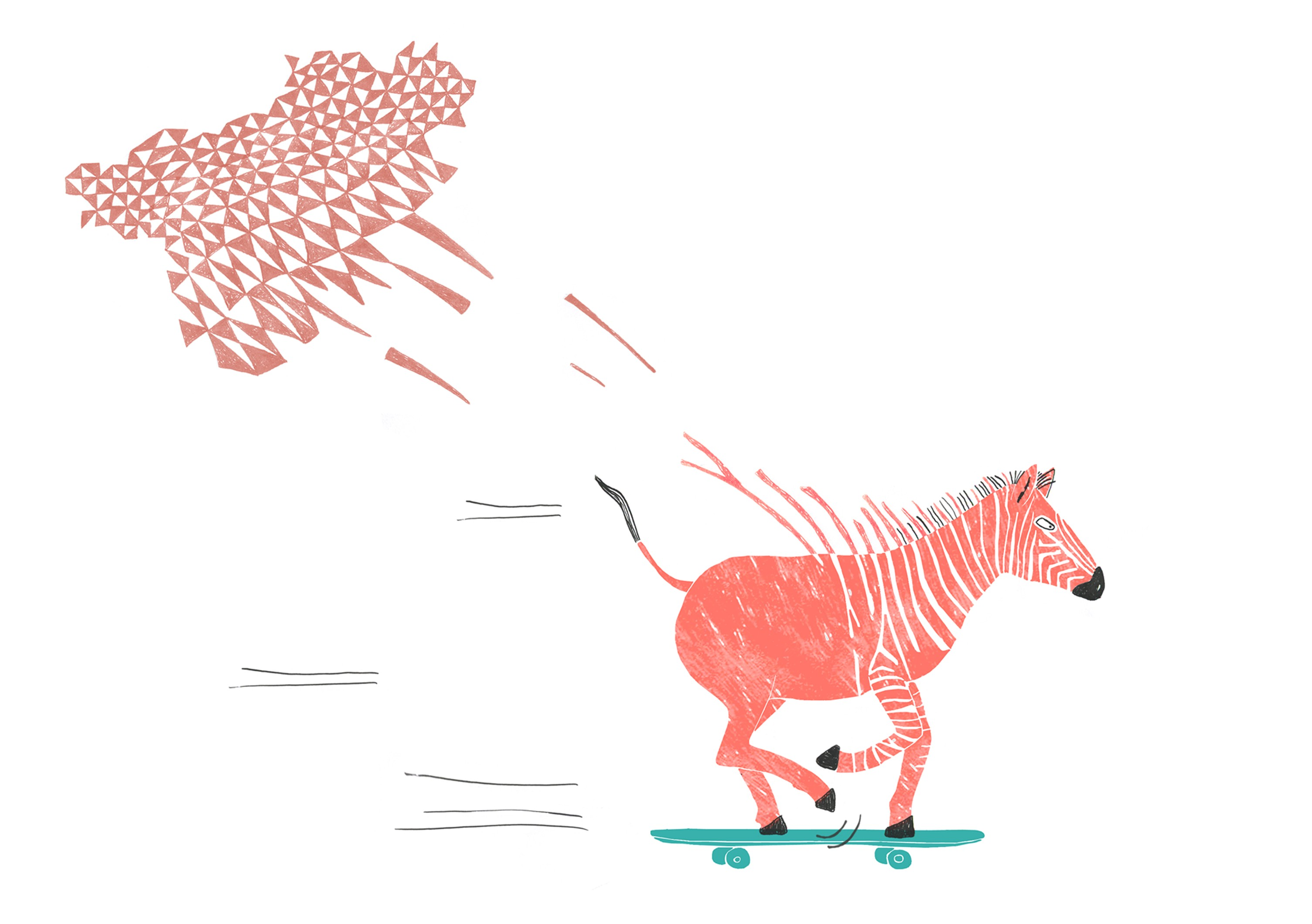 Zebra on skateboard for Oh Marie Magazine issue Dazzled painting by illustrator Ellen Vesters