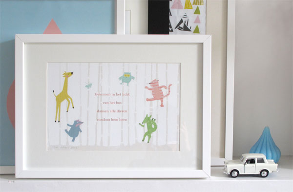 birth announcement card animals by ellen vesters