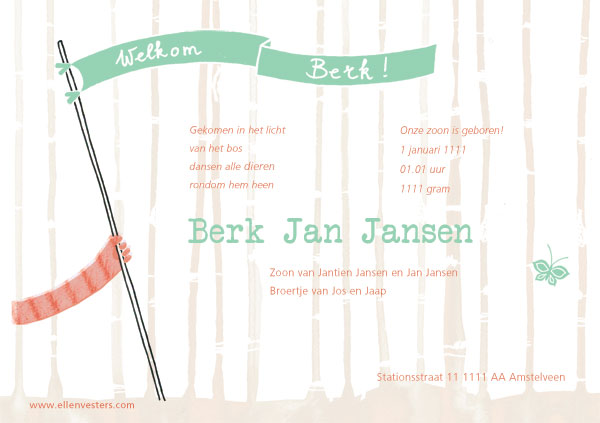 birth announcement card by ellen vesters illustrator and graphic designer