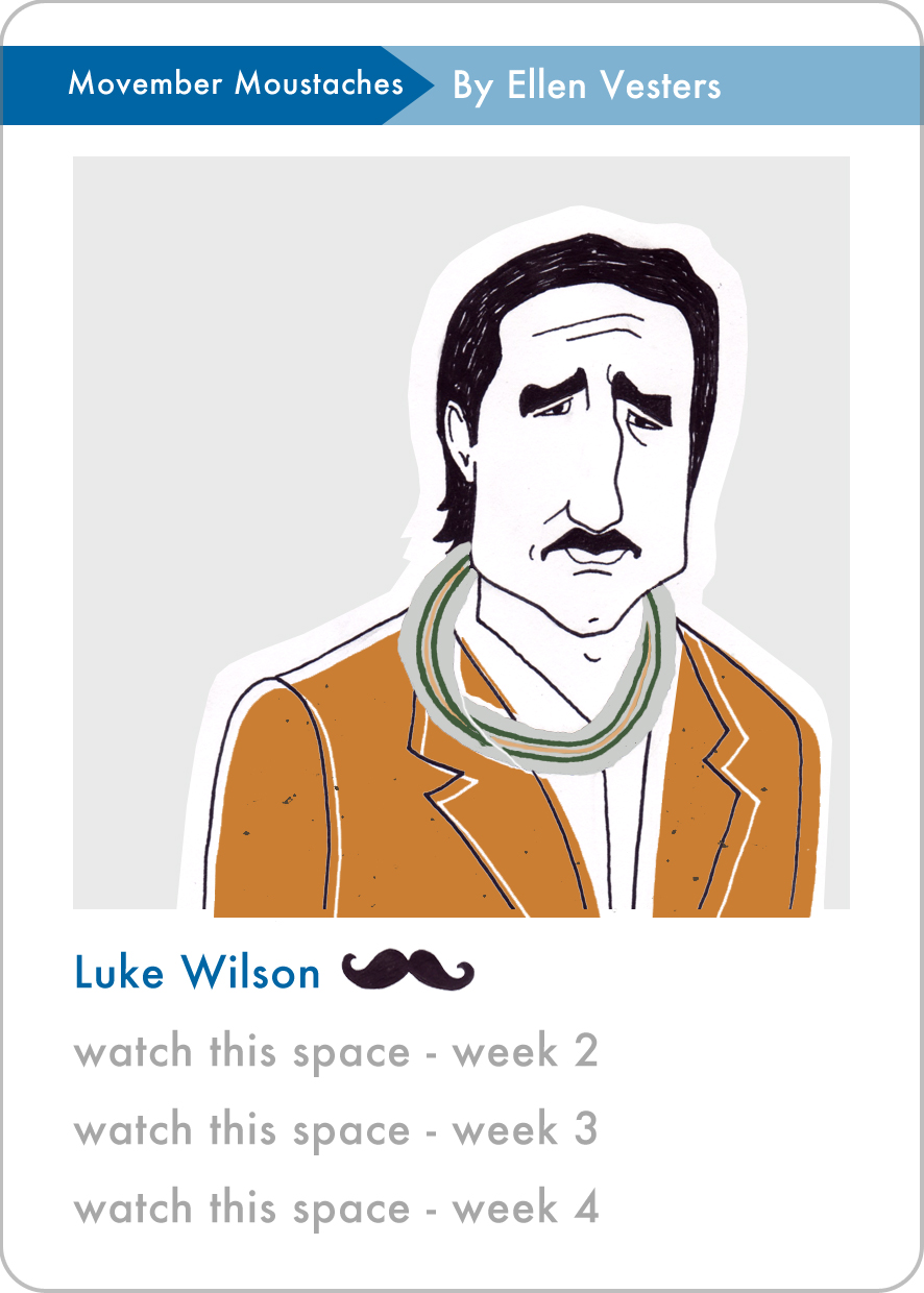 delicious dudes quartets category movember moustaches luke wilson by ellen vesters illustrator graphic designer