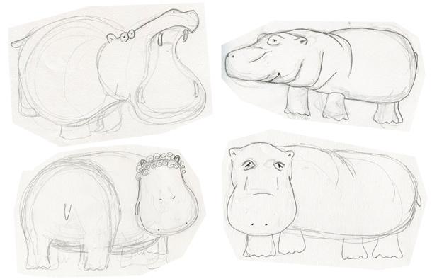 ellen vesters schets nijlpaard hippo